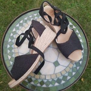 UGG Delmar black woven ankle wrap jute wedges